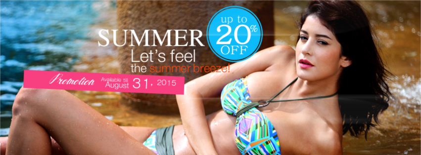 Here it's summer! What about walking along sandy beaches, baring your feet, getting tan skin and showing your appealing shapes to the public? Let's breathe in summer breeze and heat up the summer! That sounds cool! We're flaming up to 20% OFF bust up products in this hot summer for you. Take them and receive free products! Get set yourself with curvy bust and go! Available till August 31, 2015.